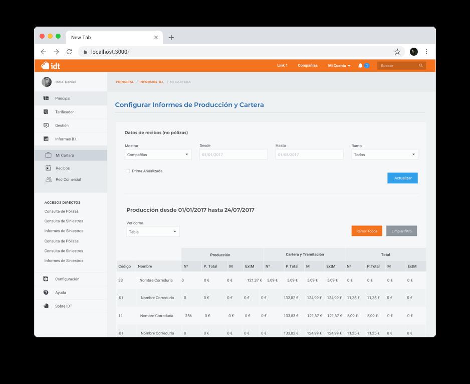 Configura informes de producción y cartera